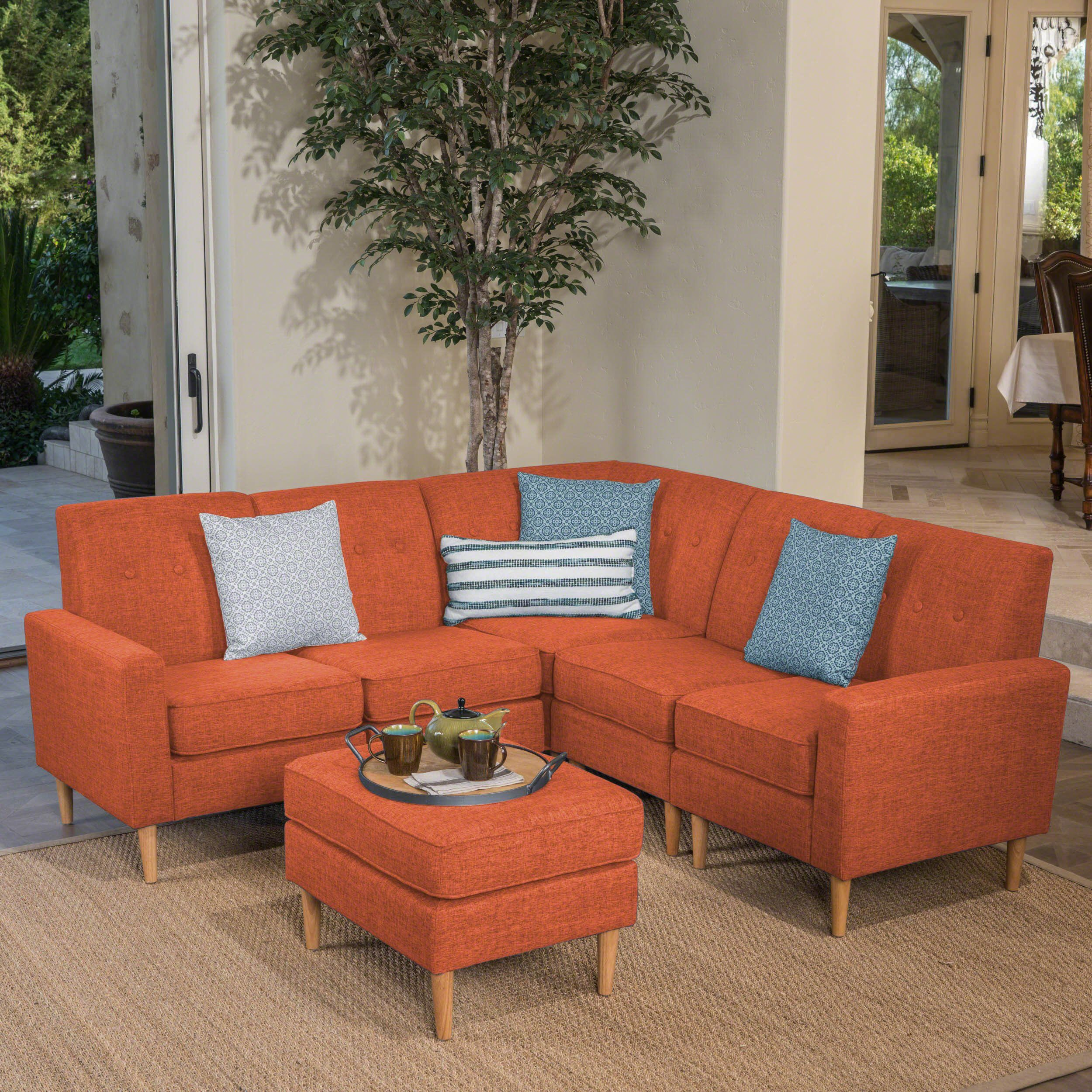 samuel mid century 6 piece tweed fabric sectional sofa set with rh pinterest com