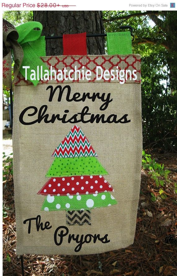 Christmas Tree Garden Flag-Christmas Burlap Flag-Burlap Christmas ...