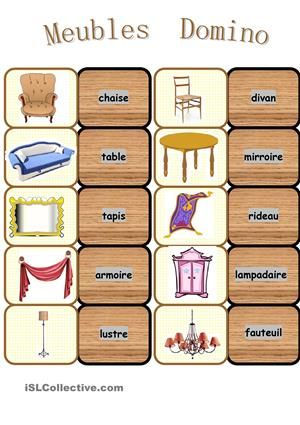 Meubles Domino Fr Vocab Habitation Core French Teacher French