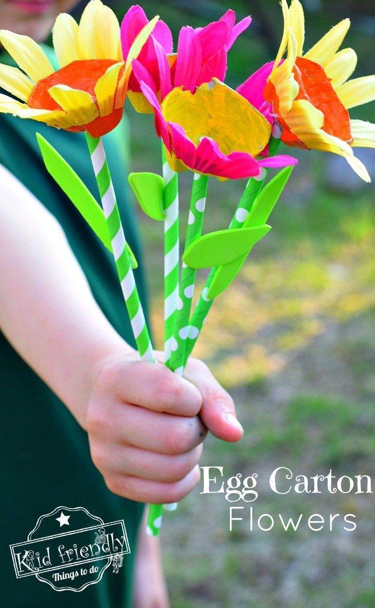 Egg Carton & Paper Straw Flower Craft For Kids To Make   Flower ...