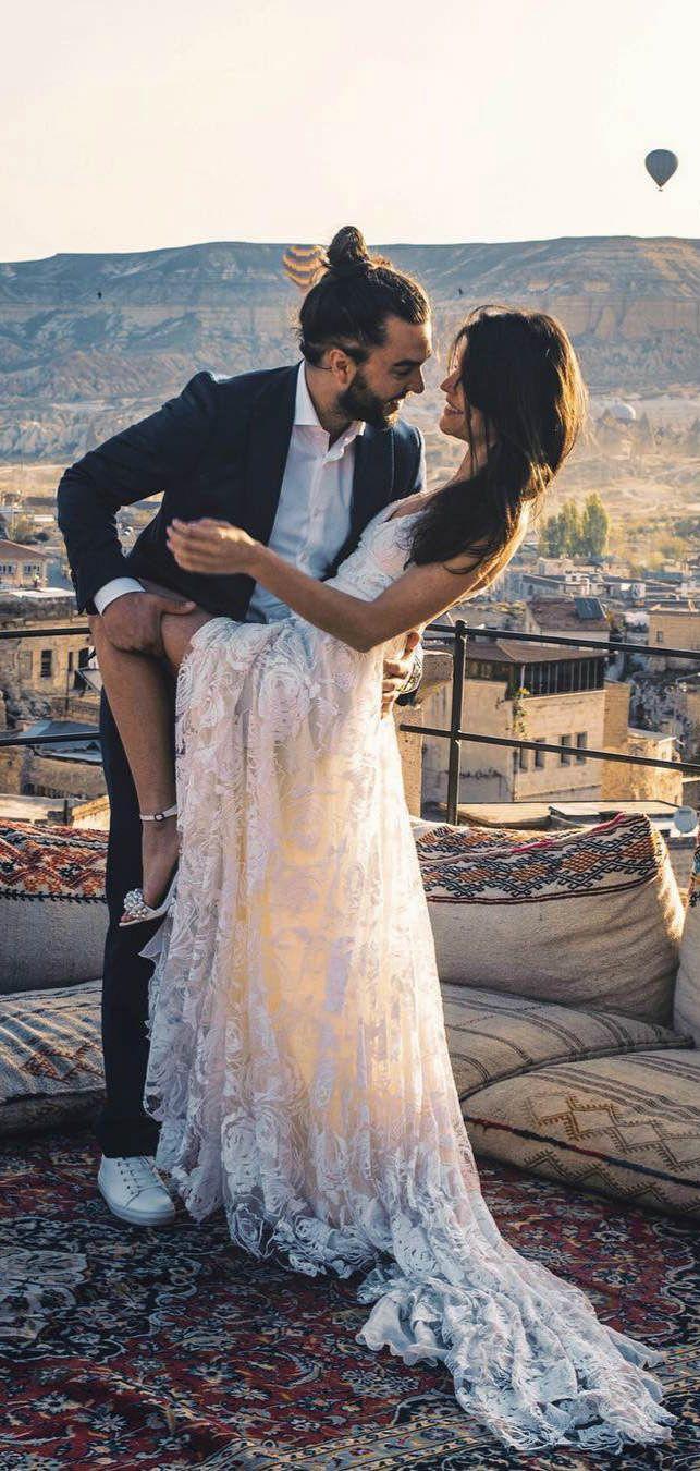 Boho lace beach wedding dresses ivory long bohemian wedding dress