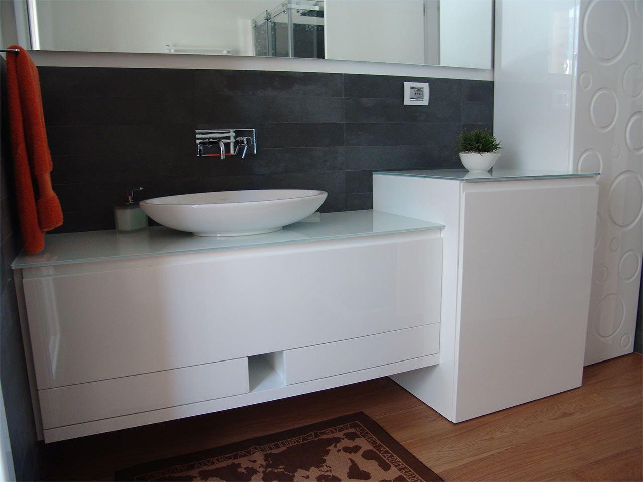 Mobile bagno portalavatrice bagno laccato bianco lucido idea