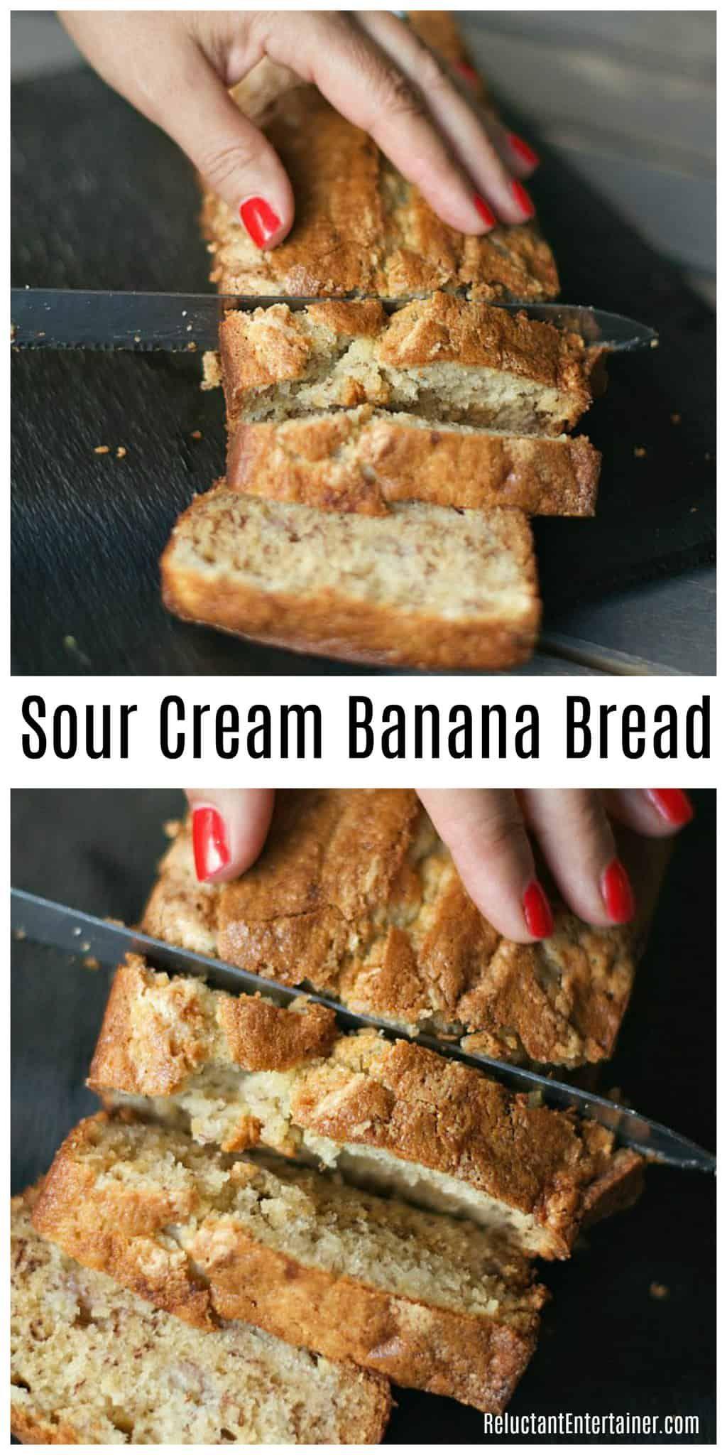 Best Ever Sour Cream Banana Bread In 2020 Sour Cream Banana Bread Sour Cream Recipes Banana Bread Recipe Moist