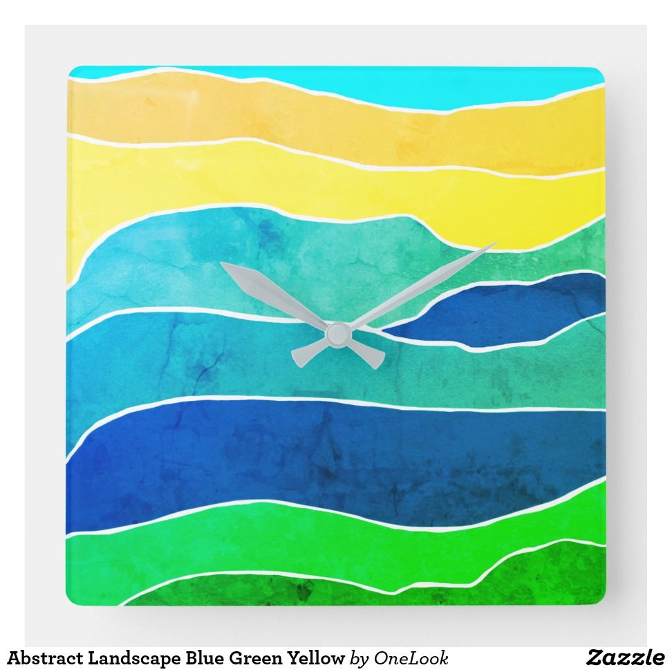 Abstract landscape blue green yellow square wall clock home decor design tapestries wallpaper clocks rugs window curtains also in rh pinterest