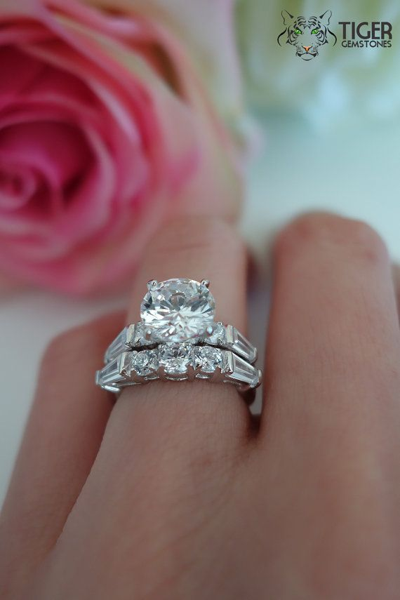 2 Carat Center 4 Ctw Wedding Set Baguette Accented Bridal Rings Man Made