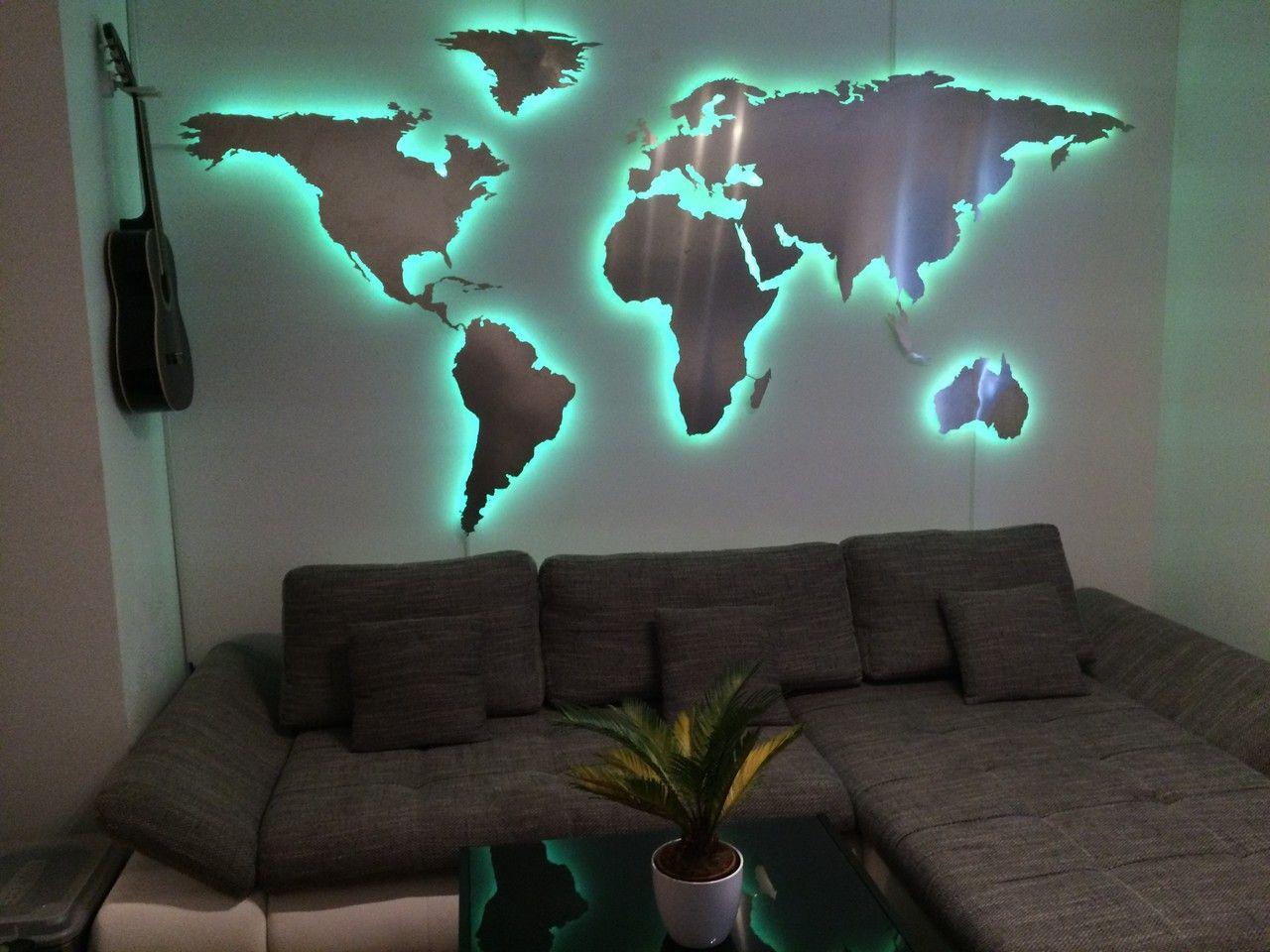 Weltkarte Mit Rgb Led Beleuchtung Aluminium Weltkarte Haus Deko Wanddeko