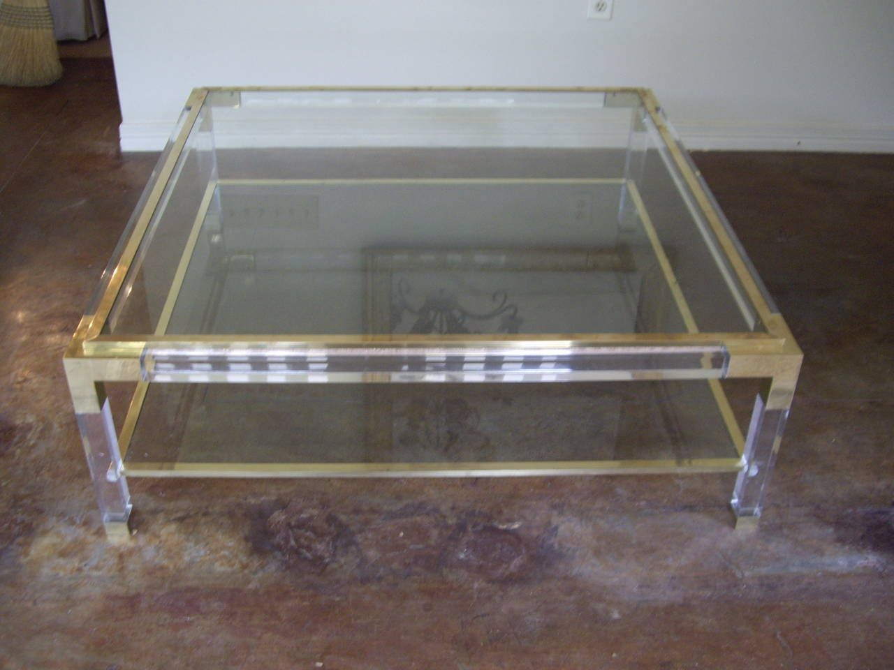 Vintage brass lucite and glass square coffee table square vintage brass lucite and glass square coffee table geotapseo Choice Image