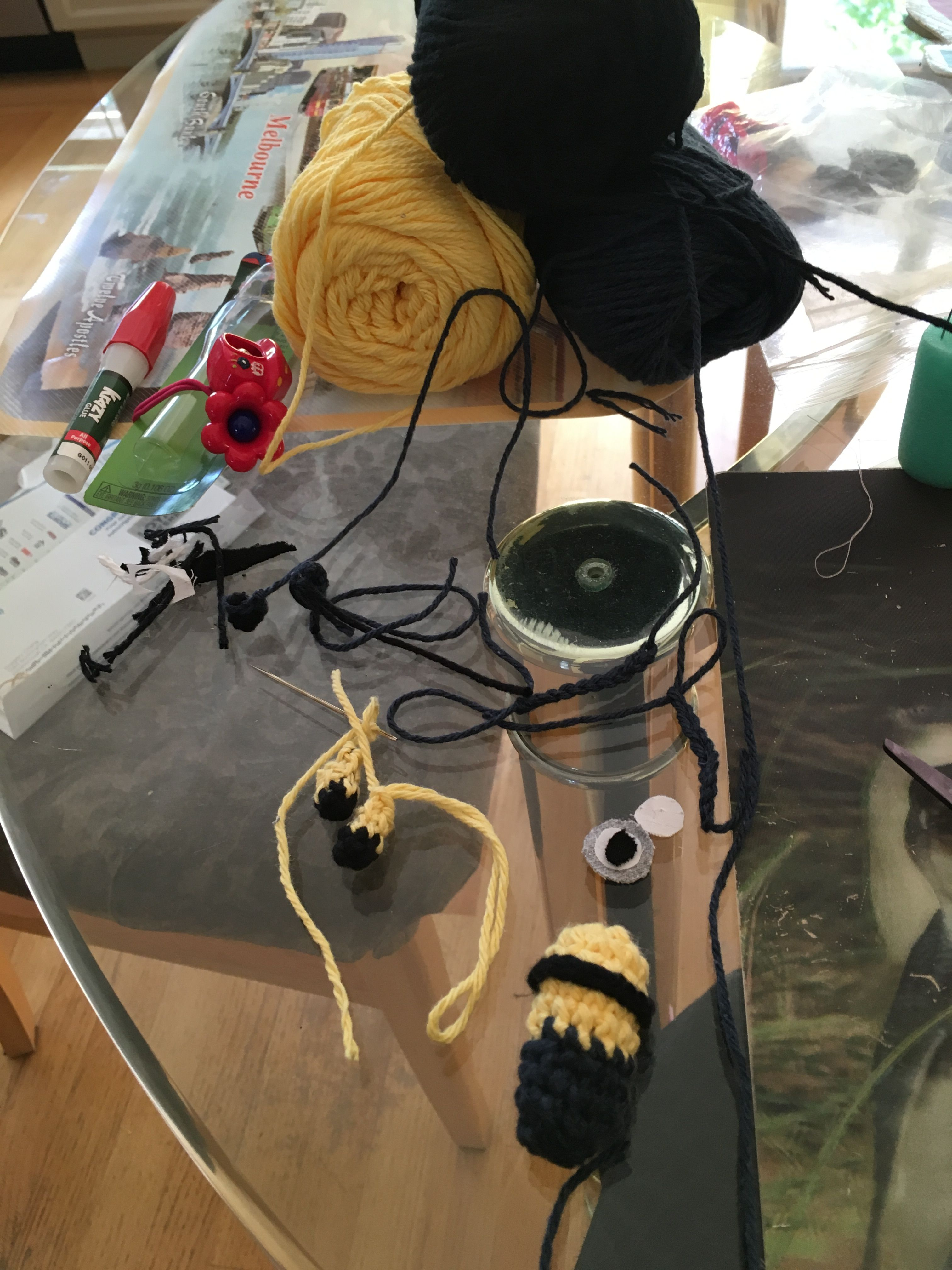 Crochet process work: Minion