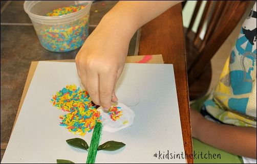 Colored Rice Flower Craft Projects For Kids Crafts For