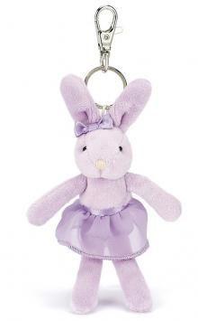 JellyCats useful Ballerina Bunny, Lilac Tutu Lulu Keyring.