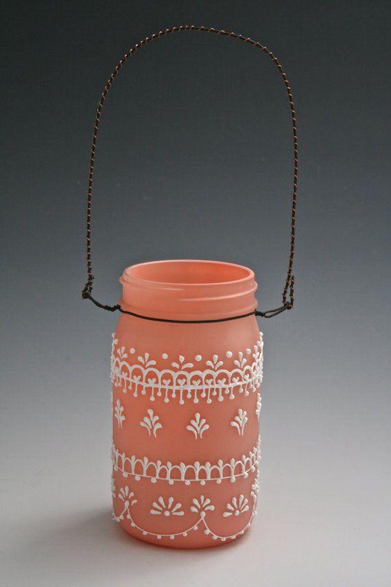 Hanging Mason Jar Lantern Tinted Light Frosty Peach Moroccan Henna