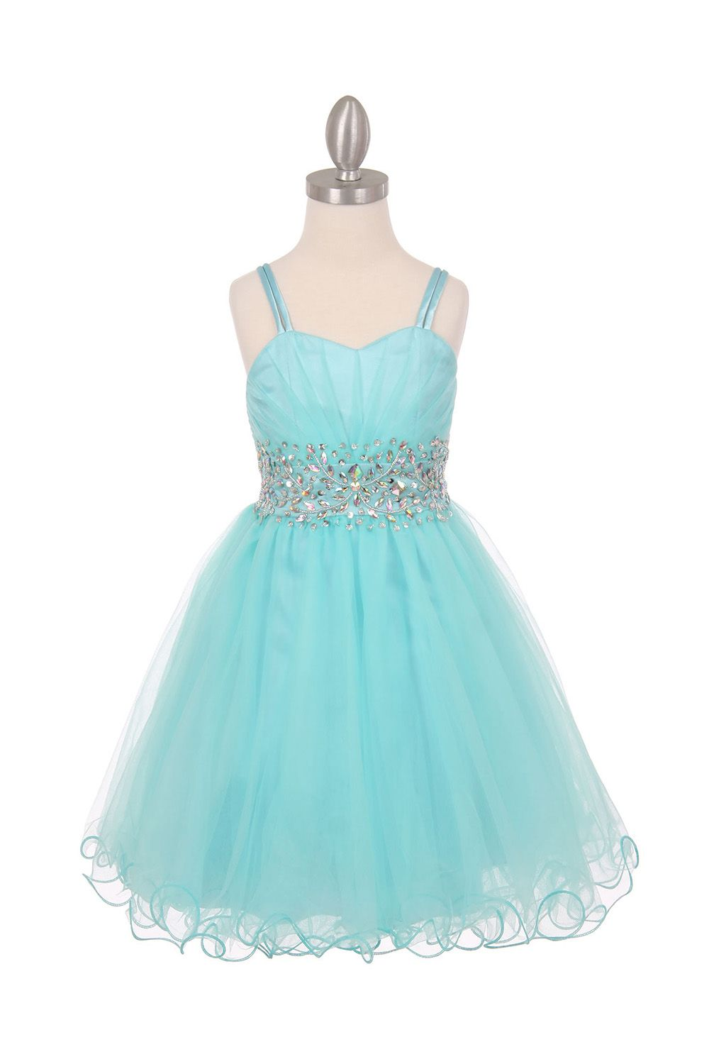 Aqua Sleeveless Mesh Junior Bridesmaid Dress with Beaded Waistline ...