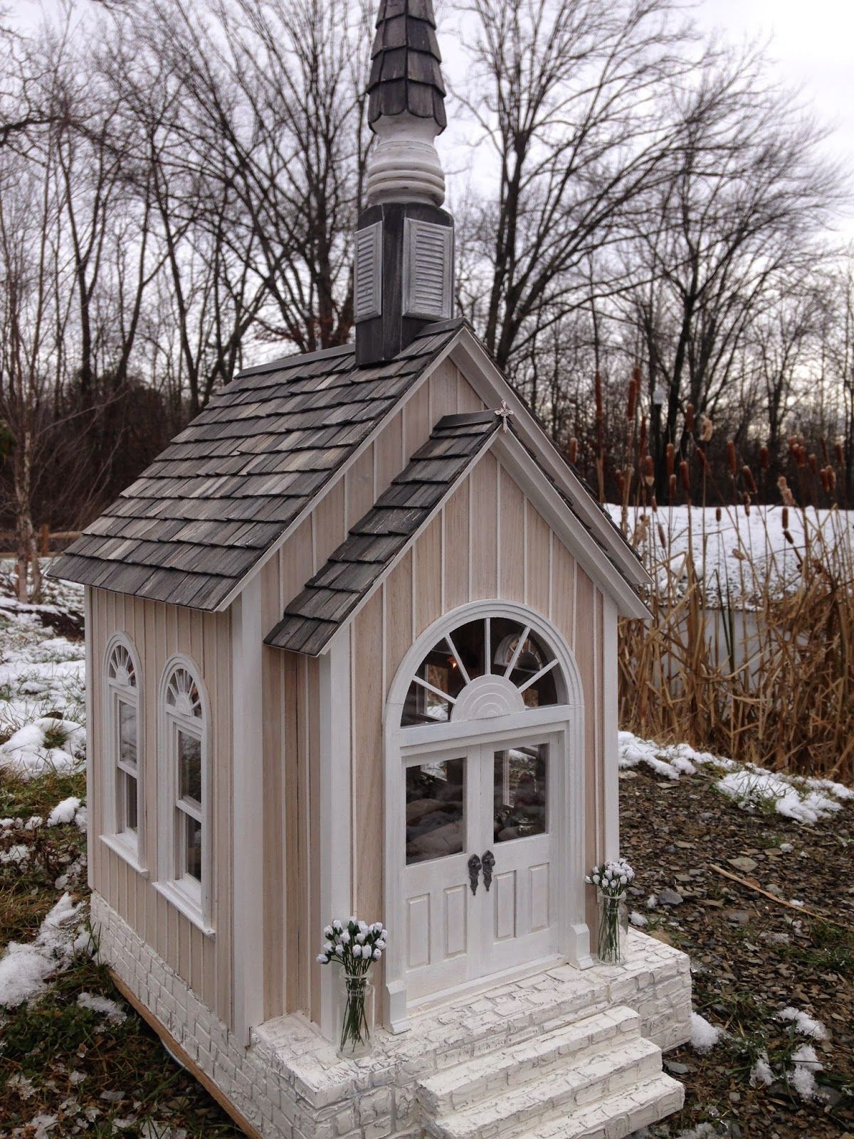 1:12 Scale dollhouse miniature country wedding chapel set for a simple wedding...Outside