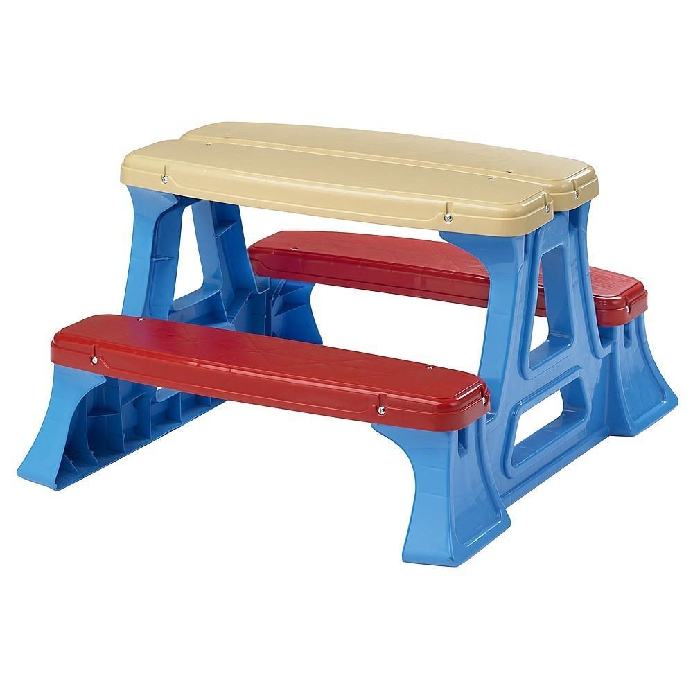 Details About Kids Plastic Picnic Table Set Bench Chair Play In Out Door Toddler Fun Children
