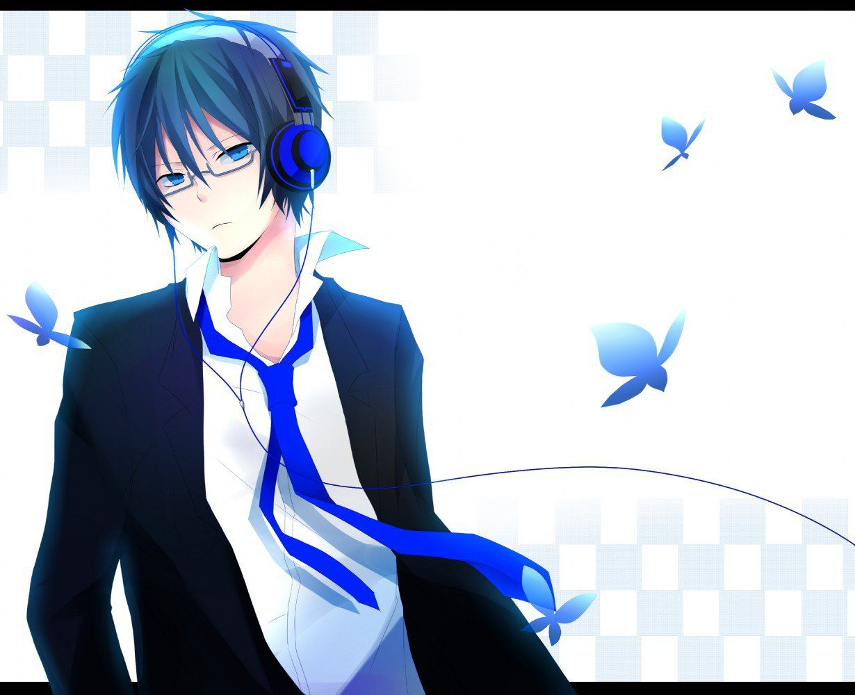 Pin By Madi Morris On Anime 3 Anime Boy Anime Boy With Headphones Blue Hair Anime Boy