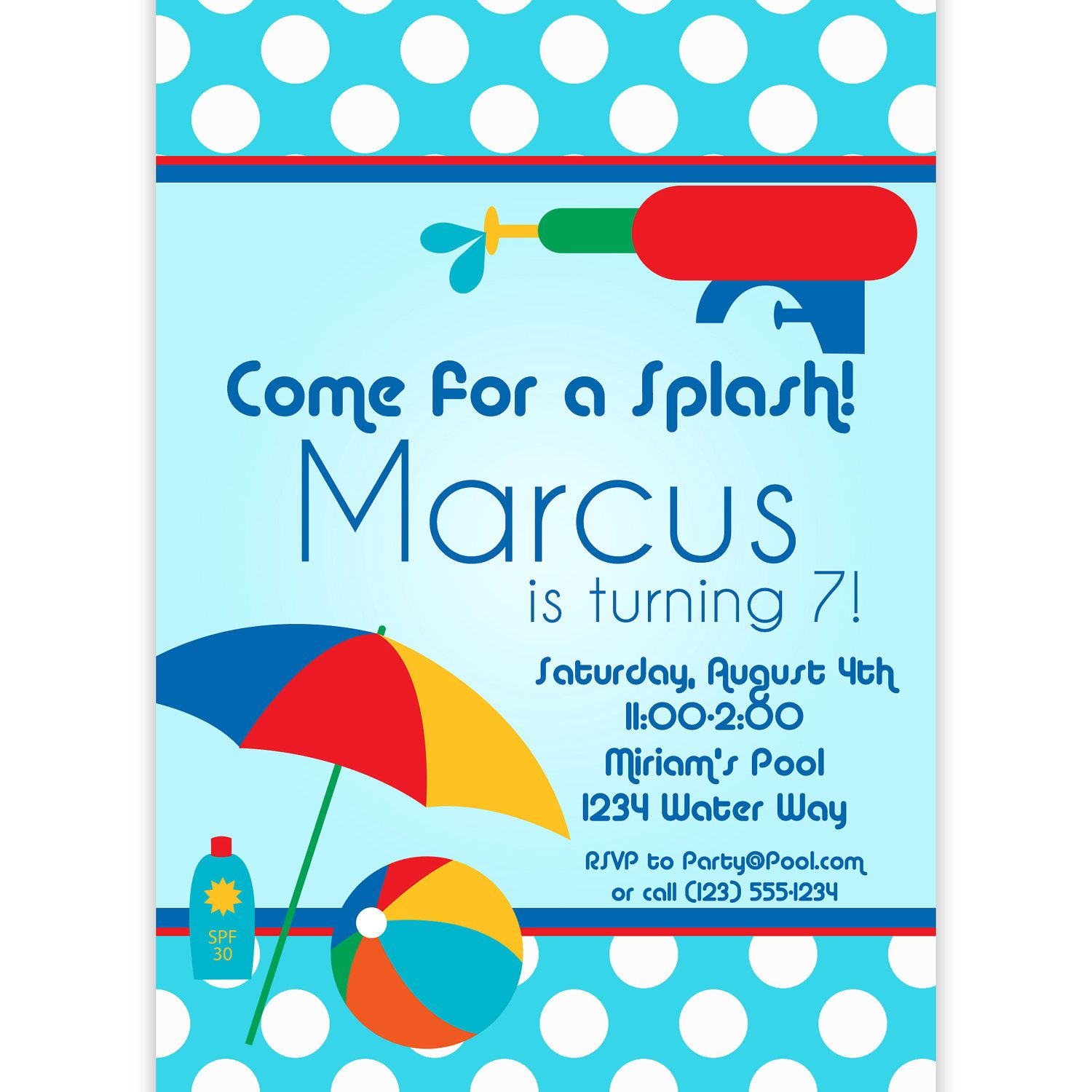 Pool Party Invitation - Blue Polka Dots and Red Water Squirt Gun ...