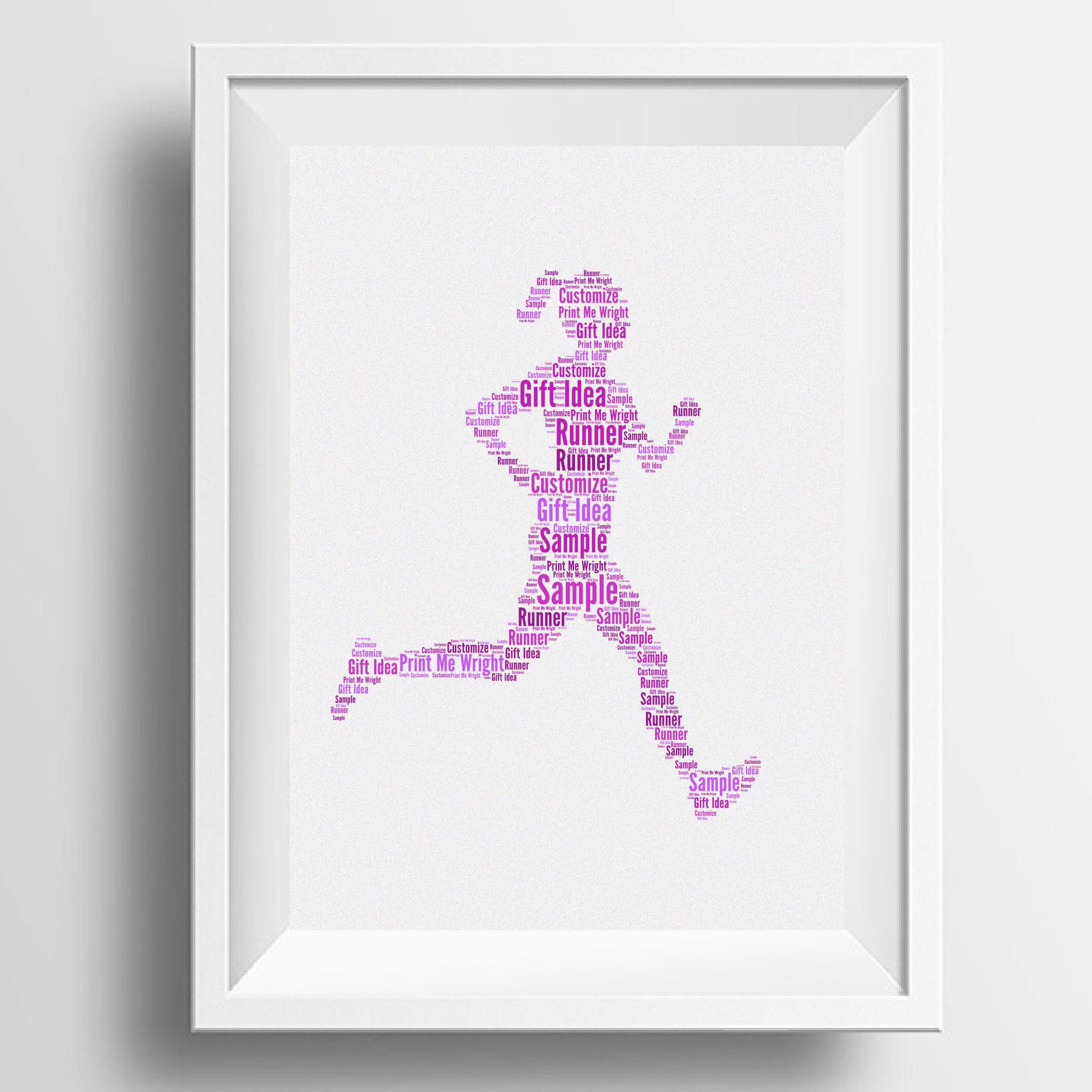 Personalised Word Art Female Runner Image Your Own Words Gift Idea For Christmas Birthday Runners Marathon By PrintMeWright On