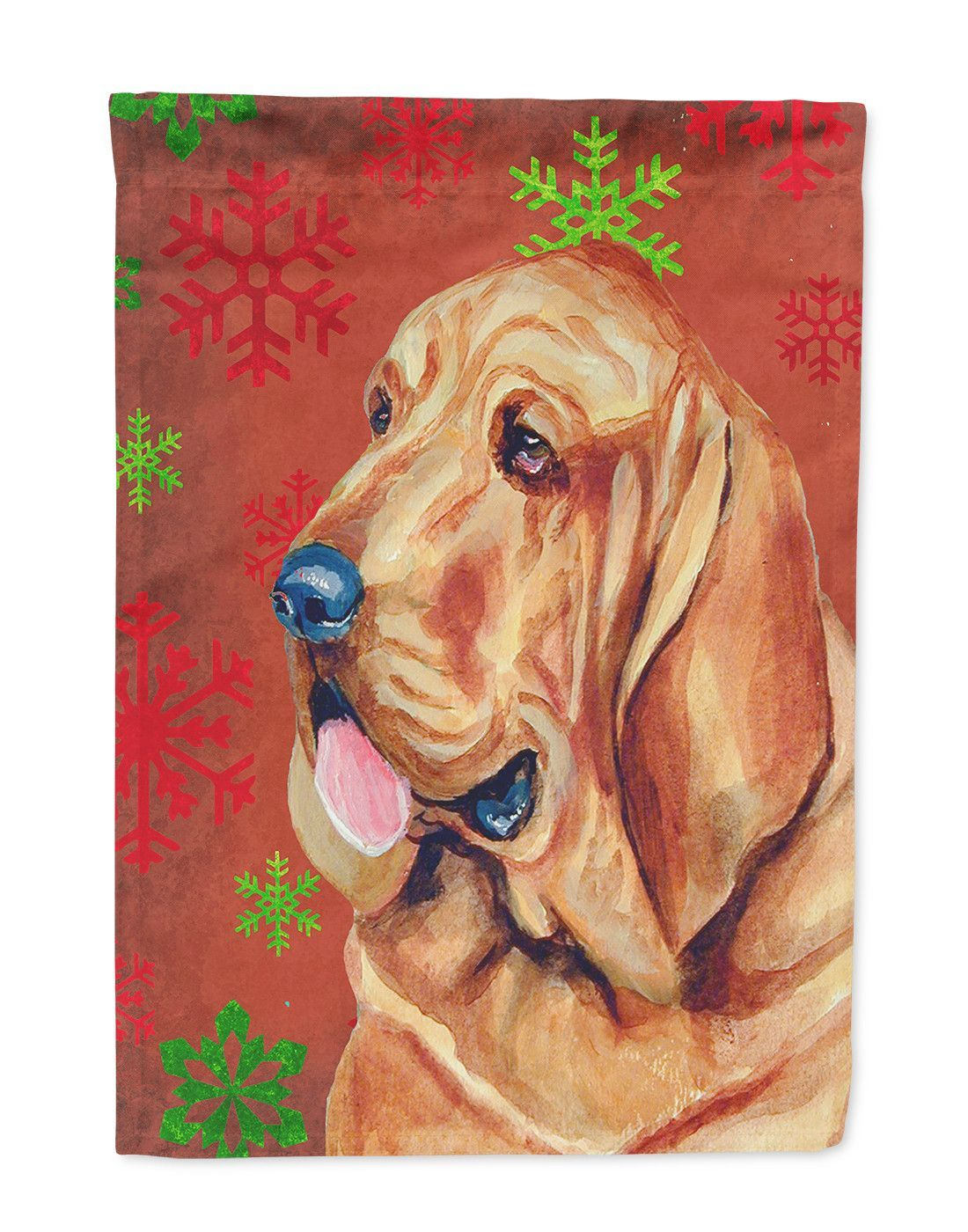 Bloodhound Red and Green Snowflakes Holiday Christmas Flag Garden Size