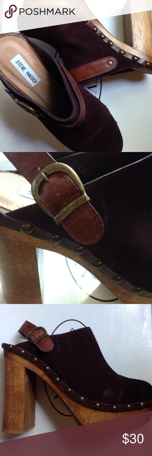 Steve Madden burgundy Ceceila clog Steve Madden burgundy suede Ceceila clog...NEW Steve Madden Shoes Mules & Clogs