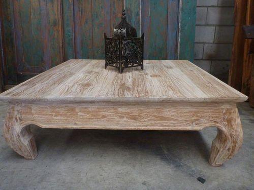 Tavolino Opium ~ Balinese furniture teak wood low opium coffee table white wash