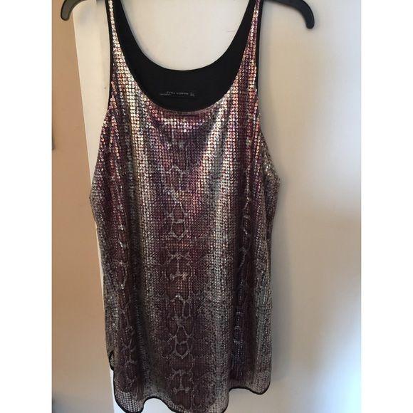 Zara Snakeskin Sequin Dress Fun slip dress. Snake skin pattern, sequins with silky lining. Zara Dresses
