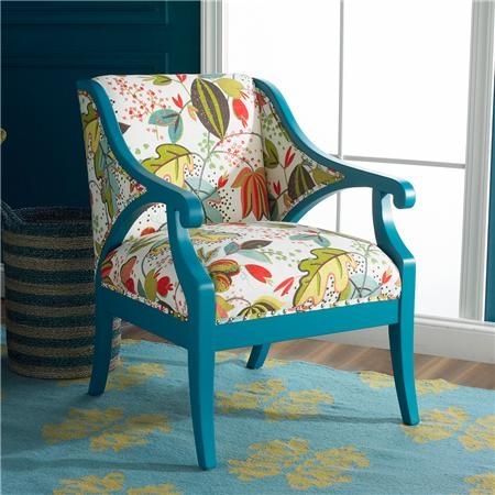 Designers' Favorite Accent Chair   Teal with fruit & flowers