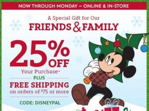photograph regarding Disney Store Coupons Printable named Disney Retail outlet Coupon: 25% Off Full Order + Cost-free Transport