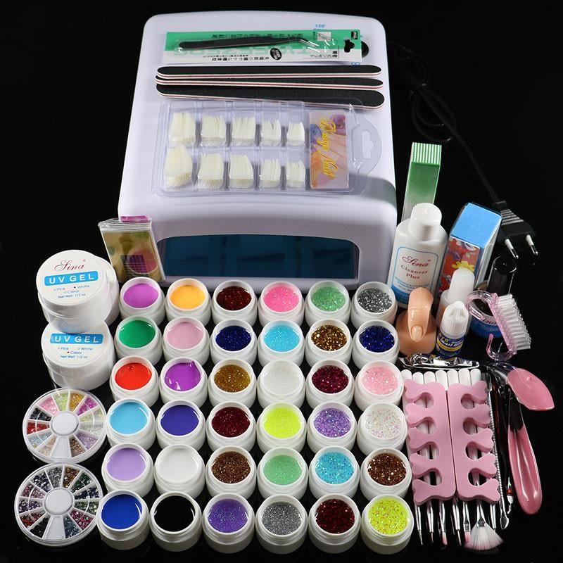 Nail art tools sets 36 colors UV gel nail polish tool kit   Products ...