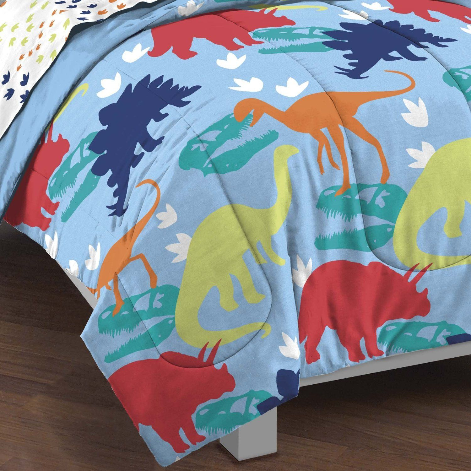 Amazon.com: Dream Factory Dinosaur Prints Boys Comforter Set, Multi-Colored, Twin: Bedding & Bath