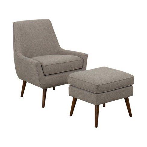 Dean Modern Accent Chair With Ottoman Light Brown Homepop