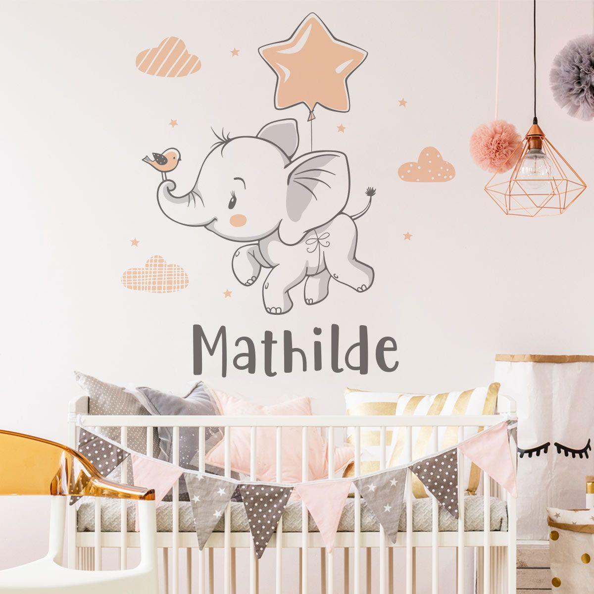 Stickers Muraux Chambre Bébé sticker prénom personnalisé bébé éléphant rêveur | chambre