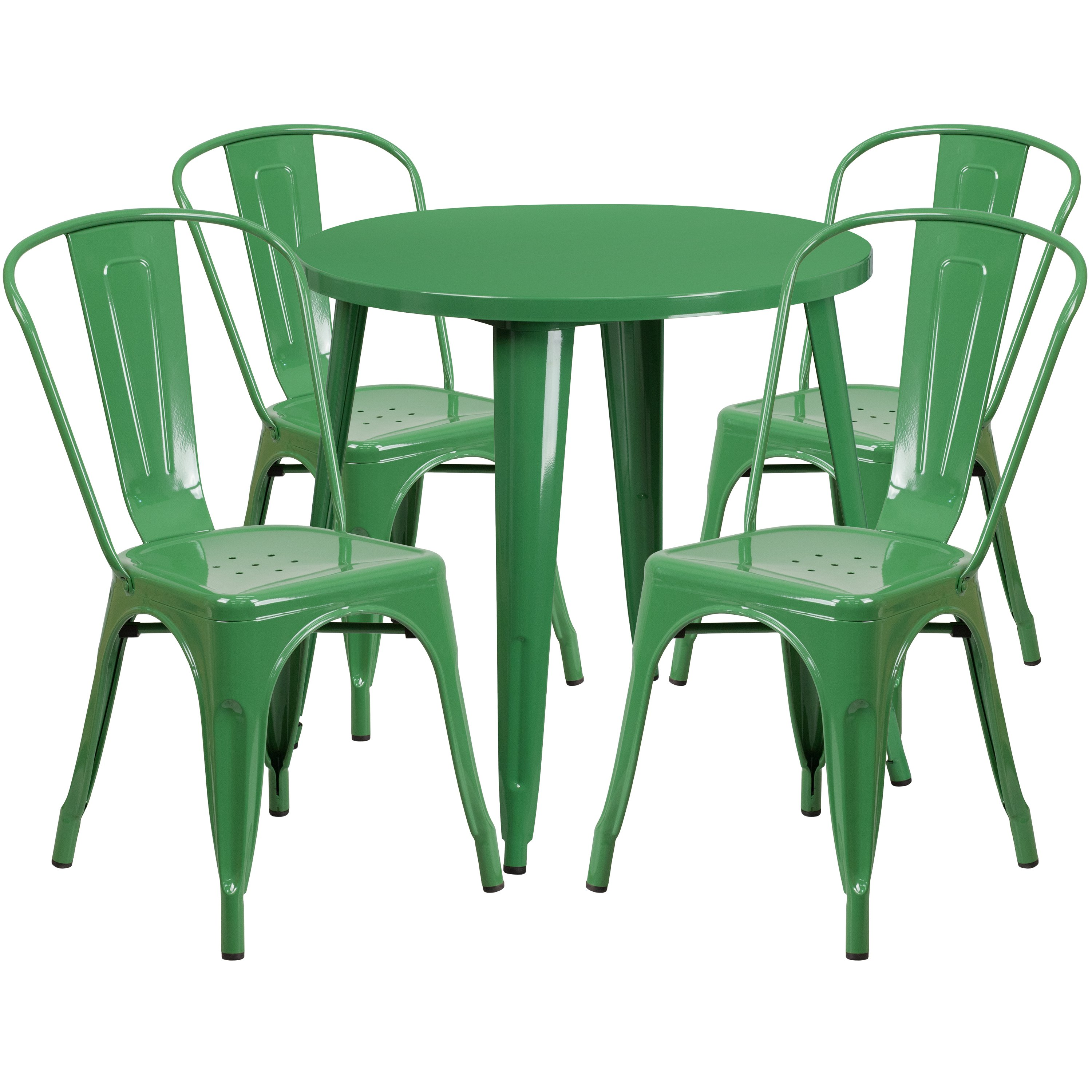 Green Metal Bistro Chairs Toddler Bean Bag 30 Round Indoor Outdoor Table Set With 4 Cafe