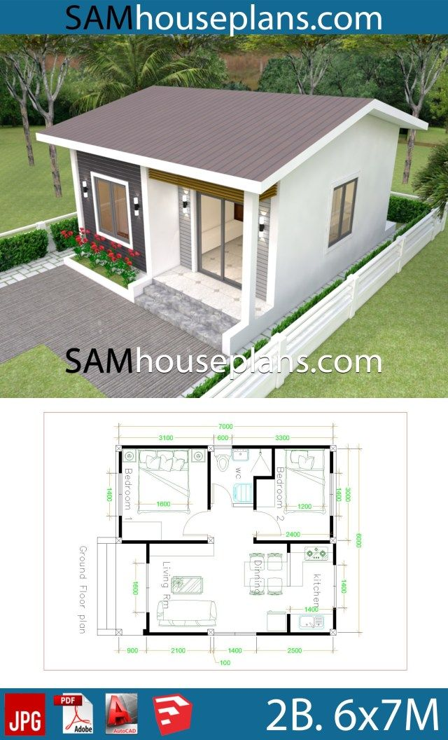 House Plans 6x7m With 2 Bedrooms Sam House Plans Small House Design Plans Little House Plans Small House Design