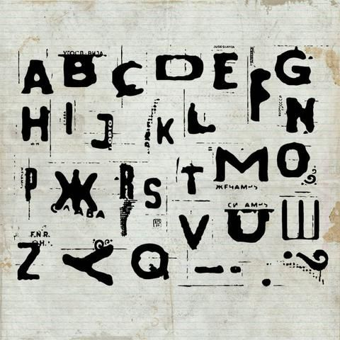 Distressed Alphabet Rubber Stamp Sheet