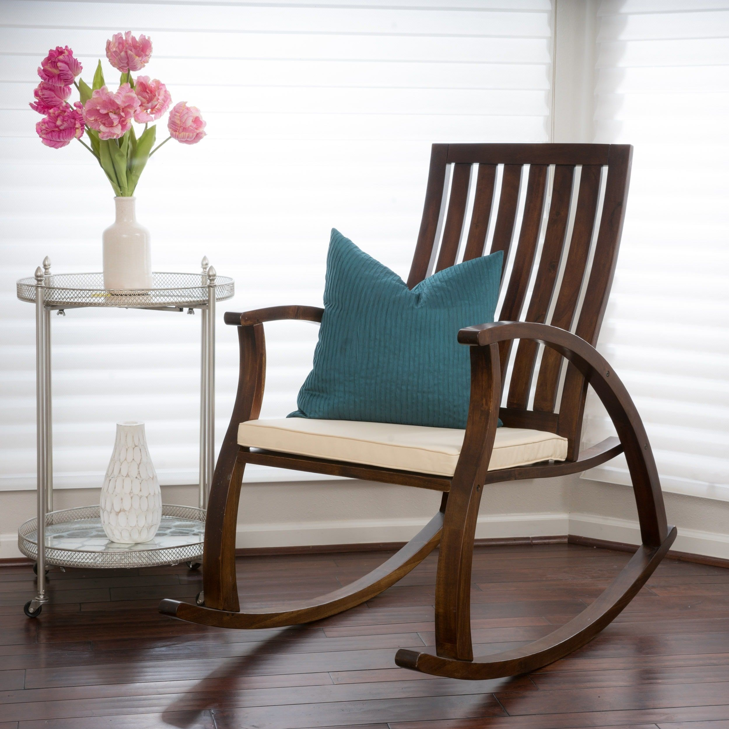 Ikea lillberg rocking chair - Abraham Brown Mahogany Wood Rocking Chair W Cushion By Christopher Knight Home Overstock