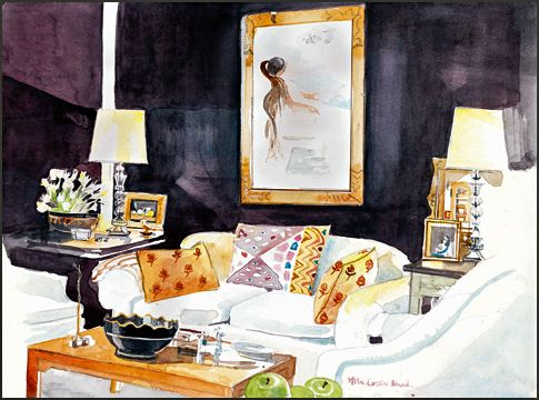 Mita Corsini Bland watercolor of Sister Parish's living room at 960 Fifth Ave during the glossy aubergine phase
