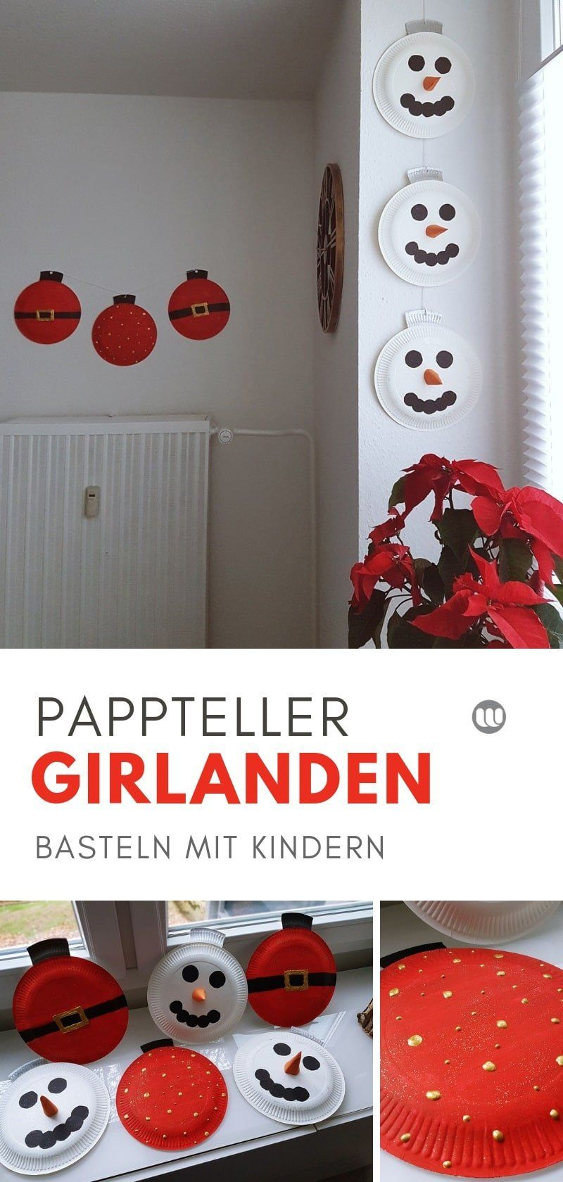 Photo of Christmas decorations with children: Snowman paper plate garland