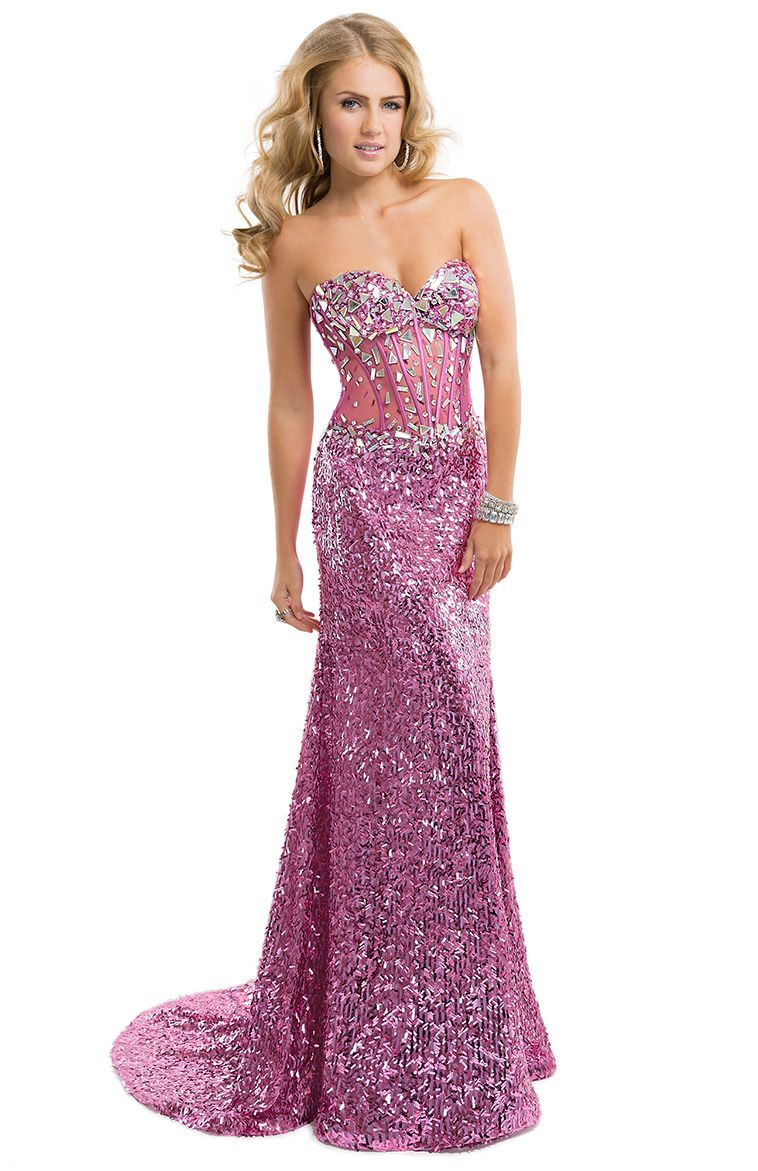 c58889b97e5 Sequined Dress with Exposed Boning Bodice