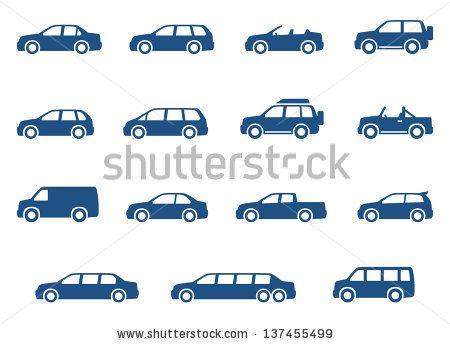 Cars icons set. Vector silhouettes of vehicles - stock vector