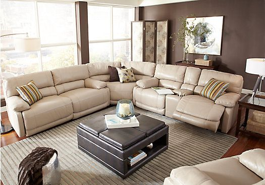 Shop For A Cindy Crawford Auburn Hills Taupe 7pc Reclining Living Room At Rooms T Leather Sectional Living Room Living Room Sets Furniture Living Room Recliner