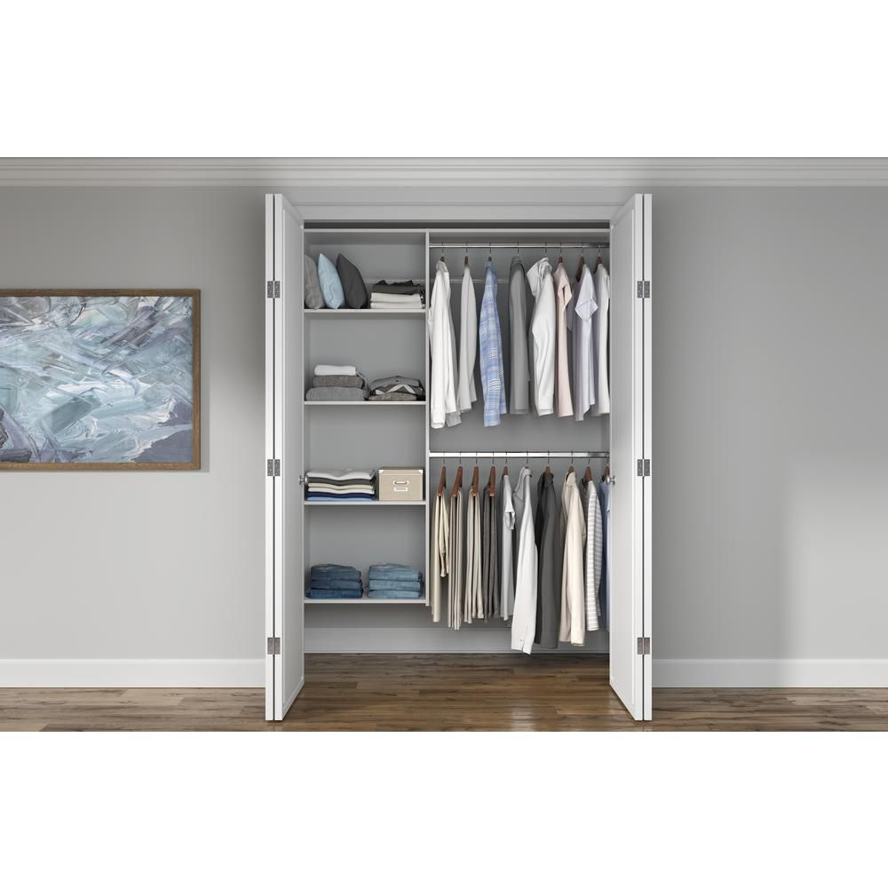 Closet Evolution 36 In W 60 In W White Wood Closet System Wh18 The Home Depot In 2020 Closet System Wood Closet Systems Wood Closets