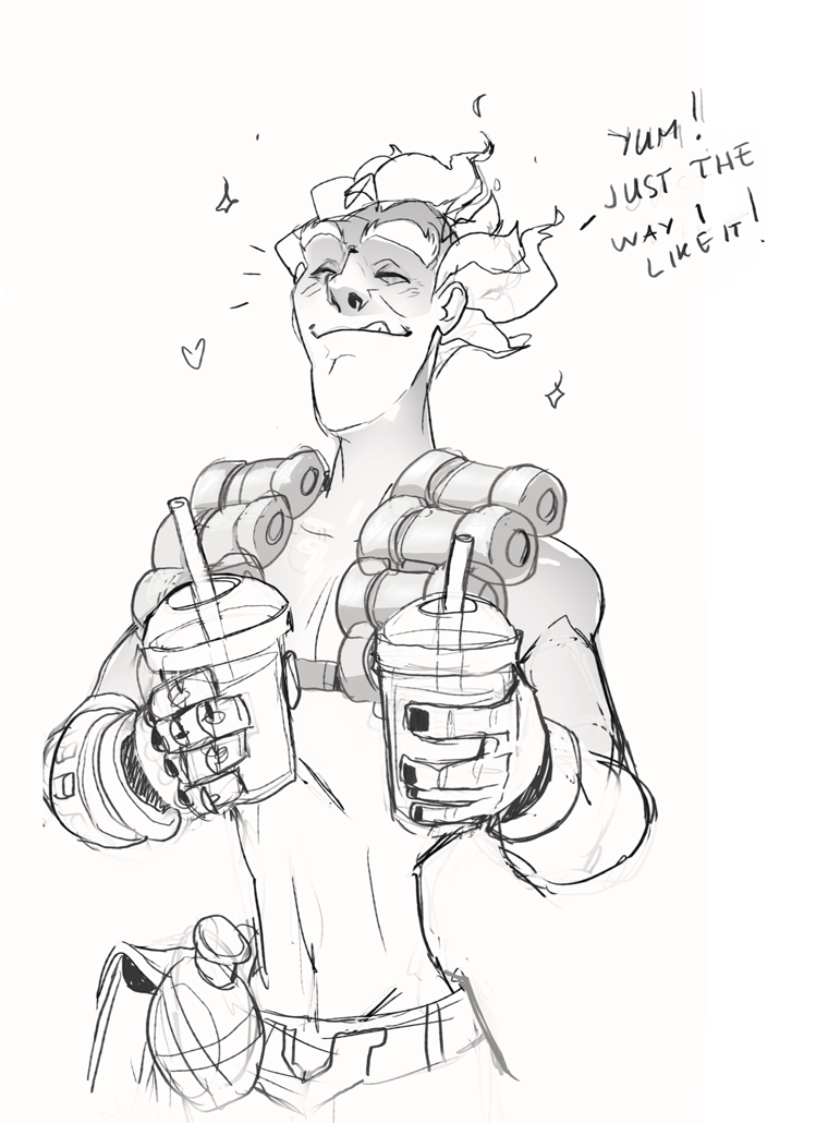 I was approached by an Overwatch fan who wanted to commission me for more Junkrat sketches. This was the first one I did! :) Junkrat enjoying his milk tea, half sweet, with boba!