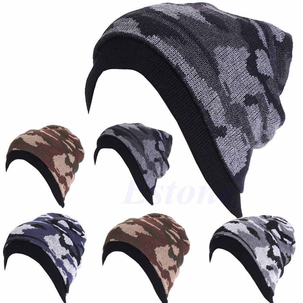 Men Women Unisex Chic Knit Baggy Beanie Winter Hat Ski Slouchy ...