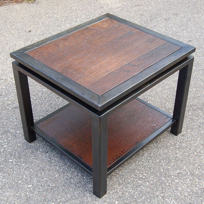 Table Bois Metal Design: Textured Walnut And Gun Metal End Table