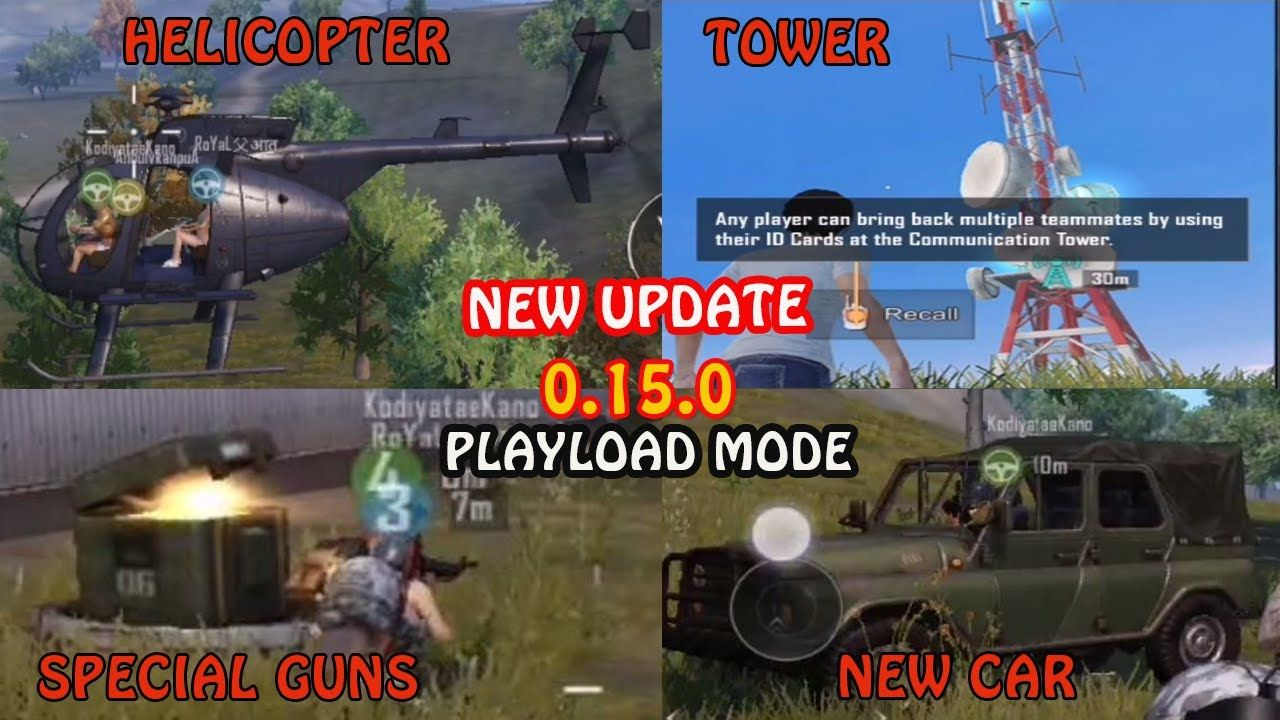PUBG MOBILE NEW UPDATE 0.15.0 PAYLOAD MODE HELICOPTER