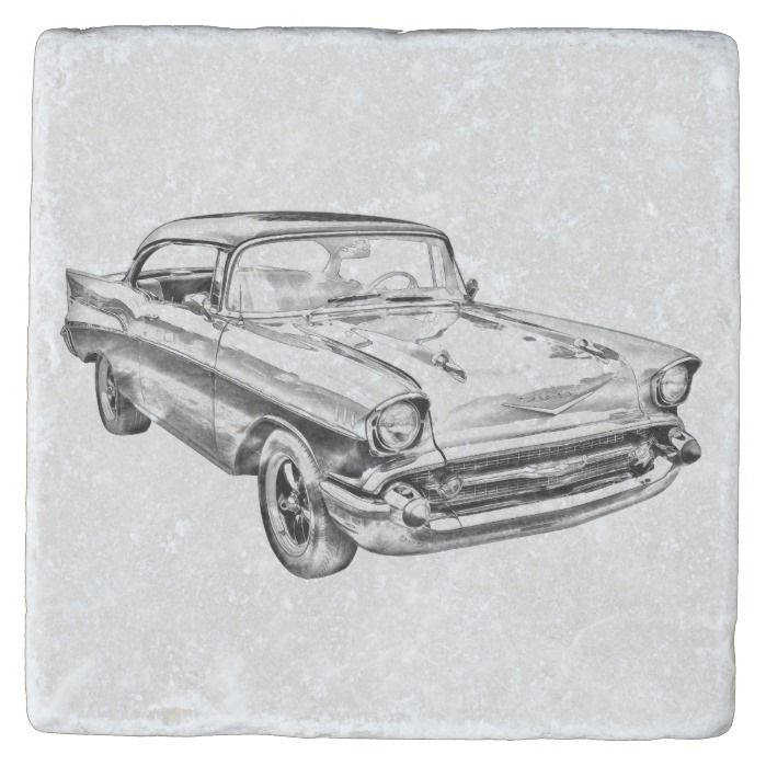 1957 Chevy Bel Air Classic Car Illustration Stone Coaster | Zazzle.com