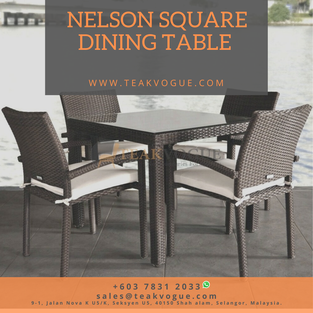 Nelson Wicker Square Dining Table Outdoor 4 Seater Dining Table