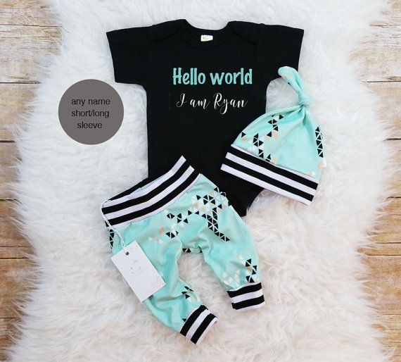 Photo of Items similar to Hello World Baby Boy Outfit Take Home Outfit  Organic Newborn Baby Boy Outfit  Newborn Boy Clothes  Baby Shower Gift  Photo Prop on Etsy