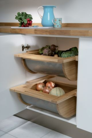 Pull Out Veg Basket Oak / Steel | Benchmarx Kitchens & Joinery