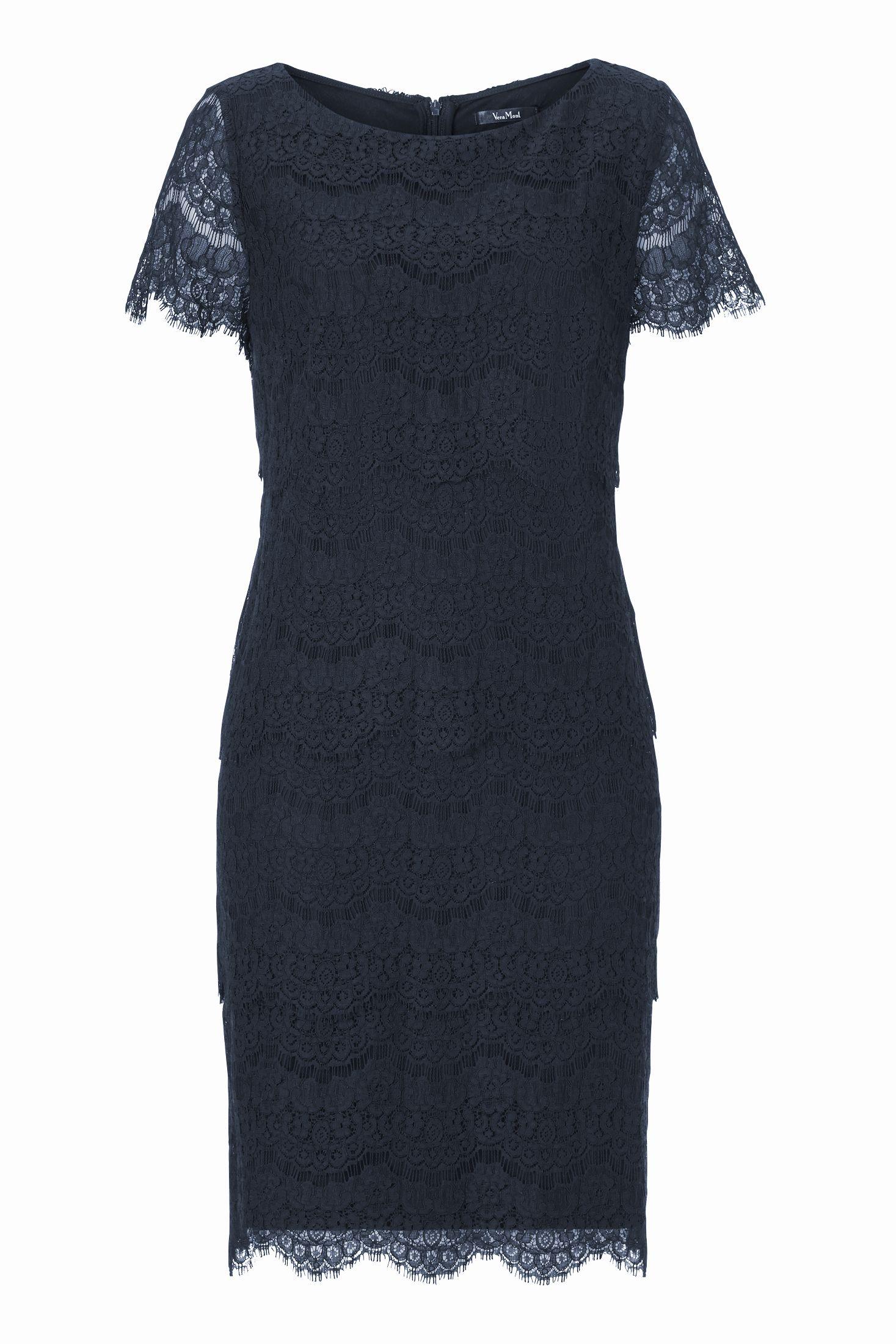 spitzenkleid kleid spitze dunkelblau vera mont | mode